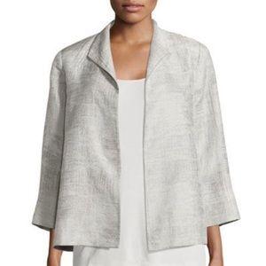 Eileen Fisher Linen Jacquard Open-Front Jacket Sm
